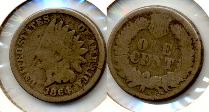 1864 Copper Nickel Indian Head Cent Good-4 z Bit Scuffy