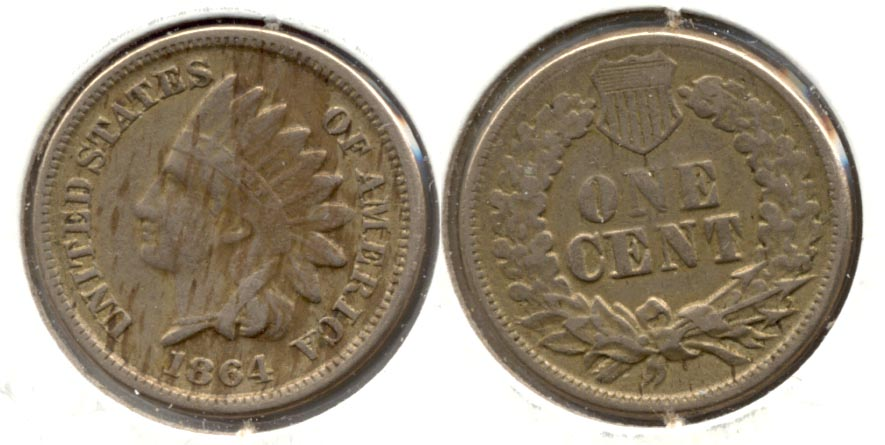 1864 Copper Nickel Indian Head Cent VF-20