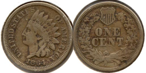1864 Copper Nickel Indian Head Cent VG-8 a