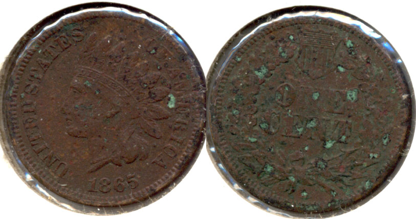 1865 Indian Head Cent Fine-12 e Green Spots