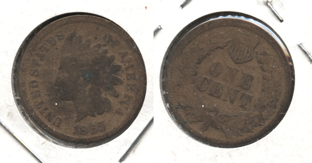 1865 Indian Head Cent Good-4 #ax Cleaned