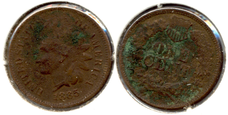 1865 Indian Head Cent Good-4 i Corrosion