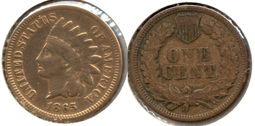 1865 Indian Head Cent Good-4 s Plated Obverse