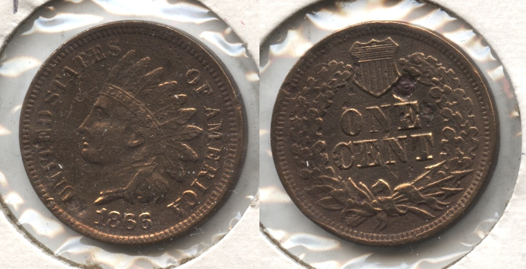 1866 Indian Head Cent Fine-12 #d Polished