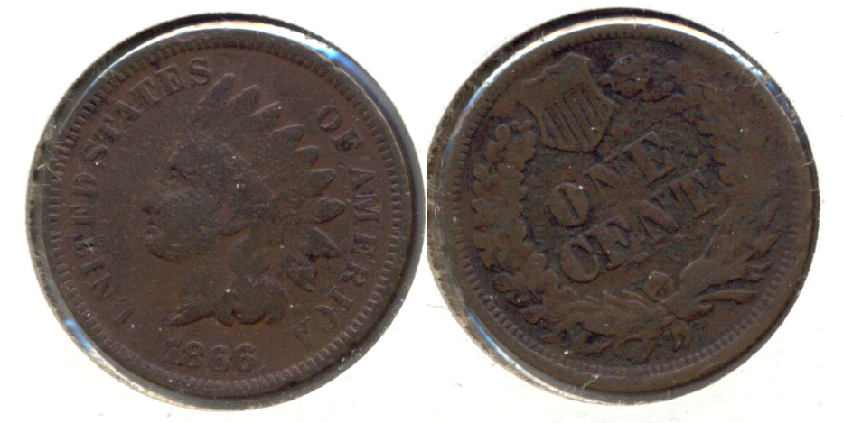1866 Indian Head Cent Good-4 e Porous