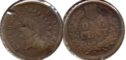 1866 Indian Head Cent VG-8 c Damaged