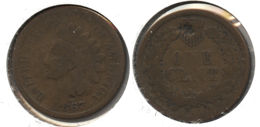 1867 Indian Head Cent Good-4 #k Reverse Hit