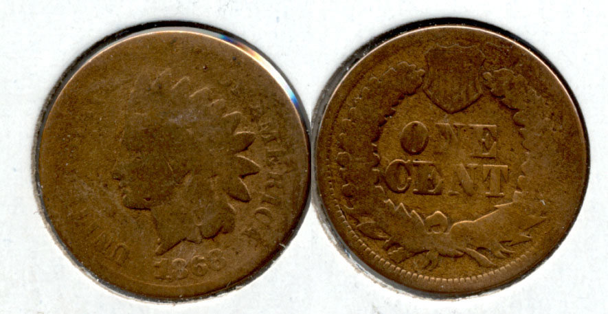 1868 Indian Head Cent AG-3 a Cleaned