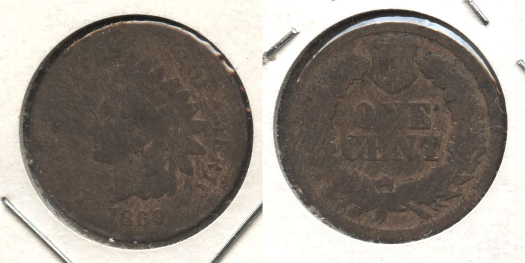 1869 Indian Head Cent AG-3 #j Light Cleaning