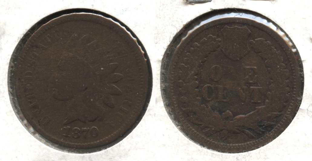 1870 Indian Head Cent Good-4 #h Cleaned