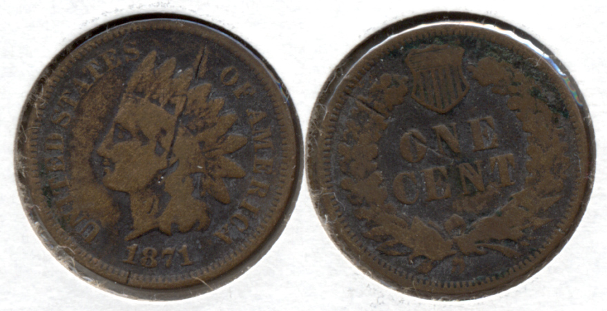 1871 Indian Head Cent G-6 Old Scratch