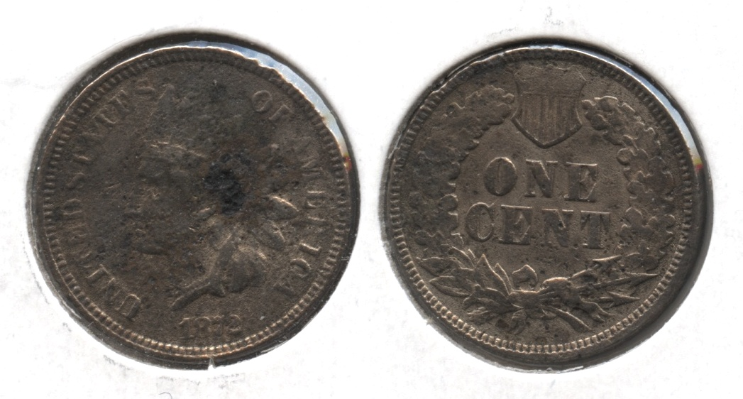 1872 Indian Head Cent Fine-12 #b Corrosion