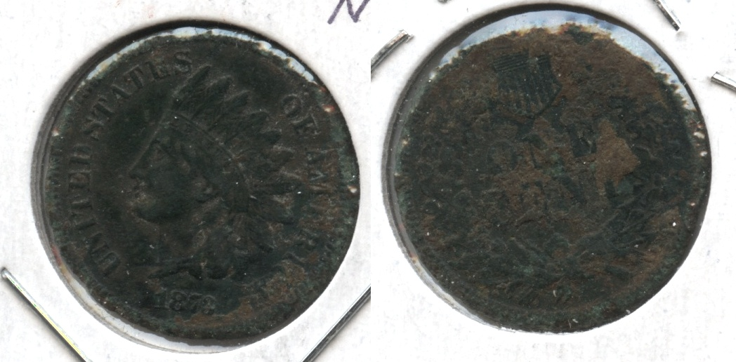 1873 Indian Head Cent Fine-12 #b Corroded