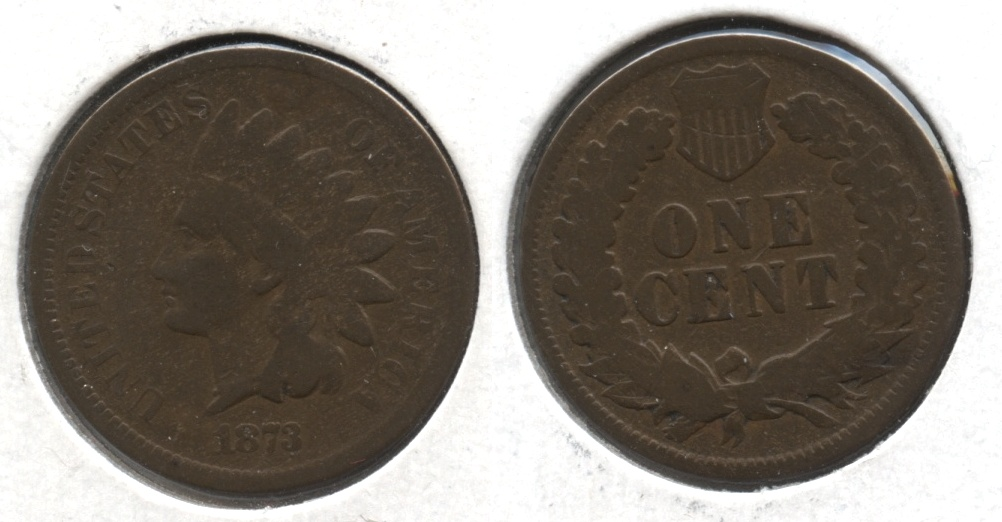 1873 Indian Head Cent Good-4 #ai Reverse Scratch
