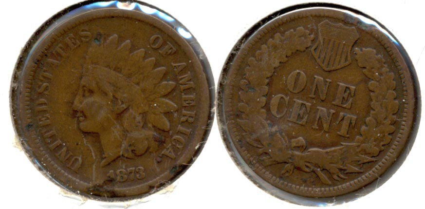 1873 Indian Head Cent VG-8 Damage a