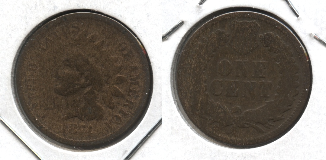 1874 Indian Head Cent AG-3 #aa Cleaned