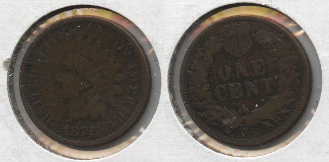 1874 Indian Head Cent Fine-12 #b