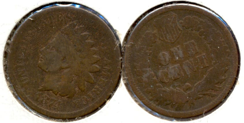 1874 Indian Head Cent Good-4