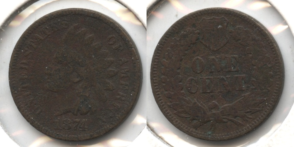 1874 Indian Head Cent Good-4 #aa Rough