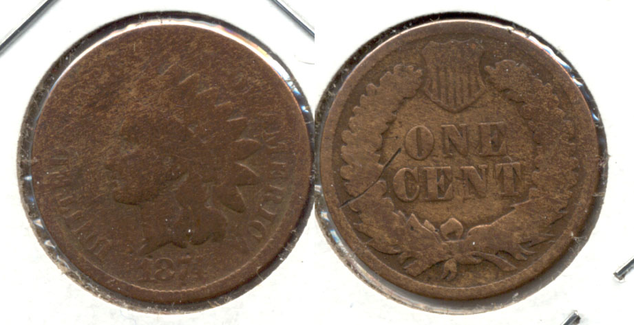 1874 Indian Head Cent Good-4 r Cleaned