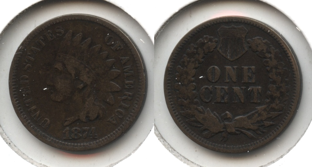 1874 Indian Head Cent VG-8 #f