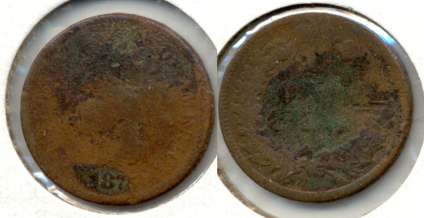 1875 Indian Head Cent AG-3 p Rough