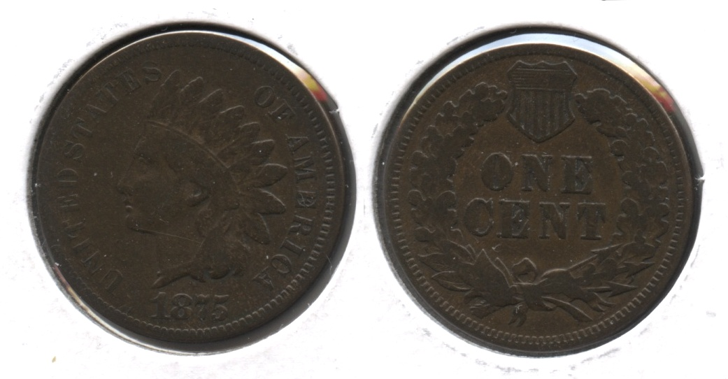 1875 Indian Head Cent Fine-12 #f