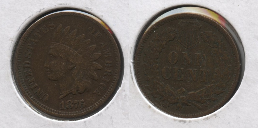 1876 Indian Head Cent Fine-12 #a