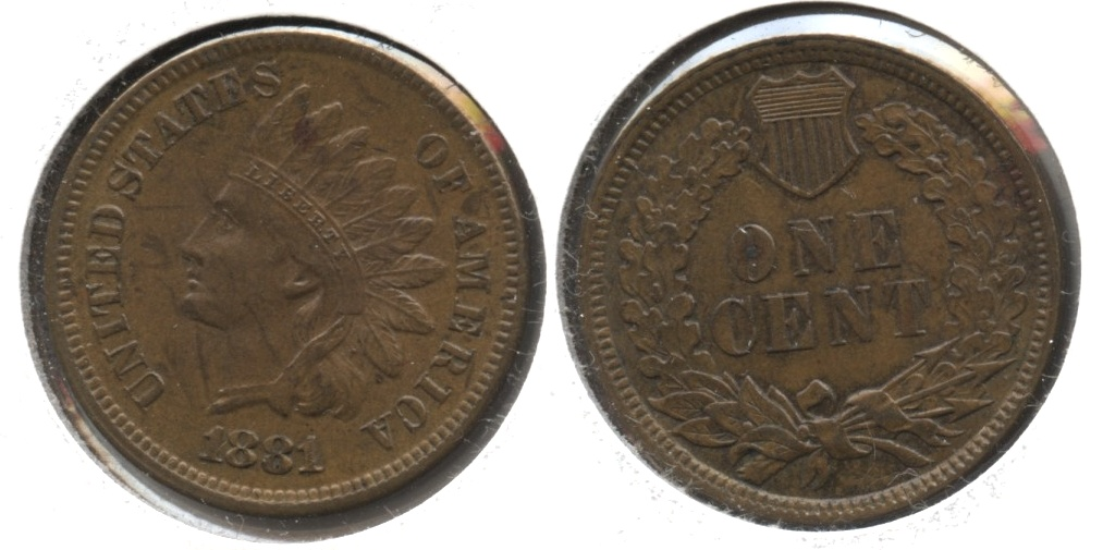 1881 Indian Head Cent AU-58