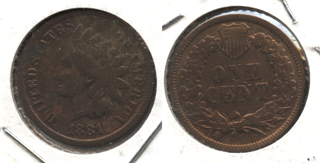 1881 Indian Head Cent Good-4 #am Cleaned