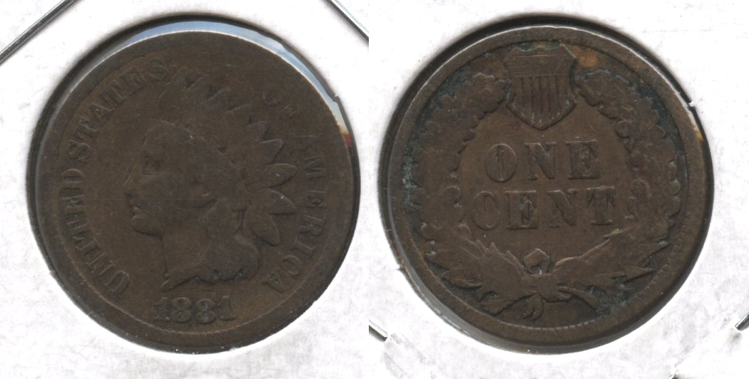 1881 Indian Head Cent Good-4 #ao Cleaned Retoned