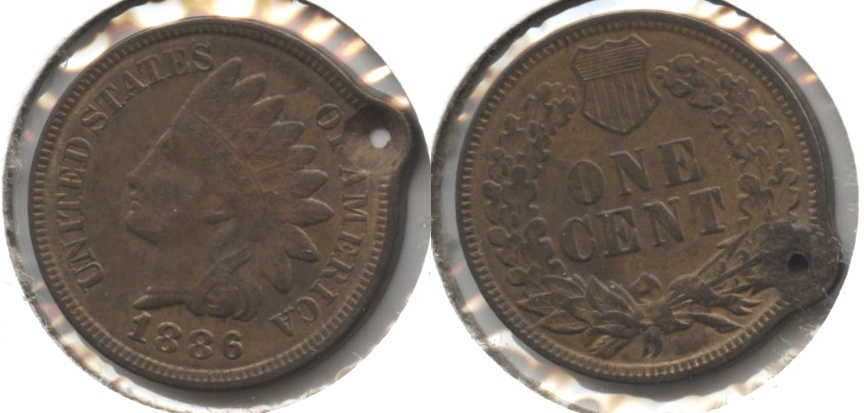 1886 Type 2 Indian Head Cent Fine-12 Holed