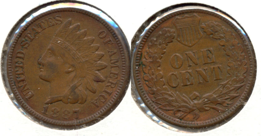 1887 Indian Head Cent AU-50