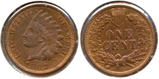 1887 Indian Head Cent MS-63 Red Brown