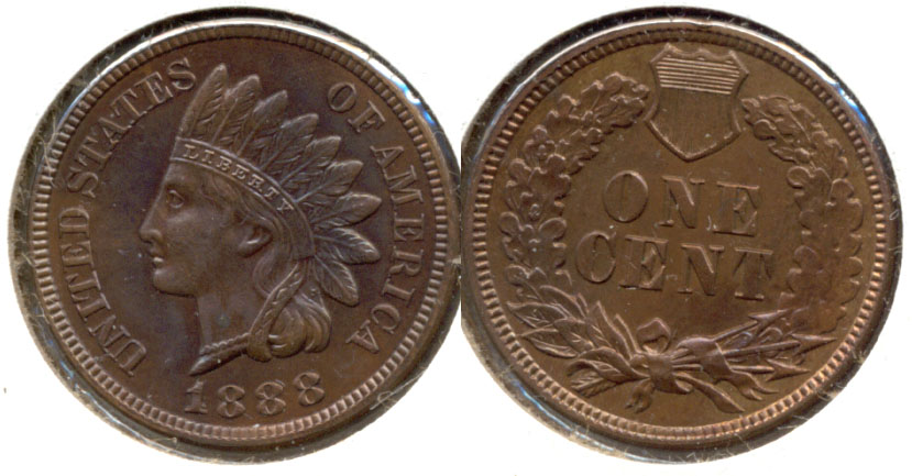 1888 Indian Head Cent MS-63 Brown