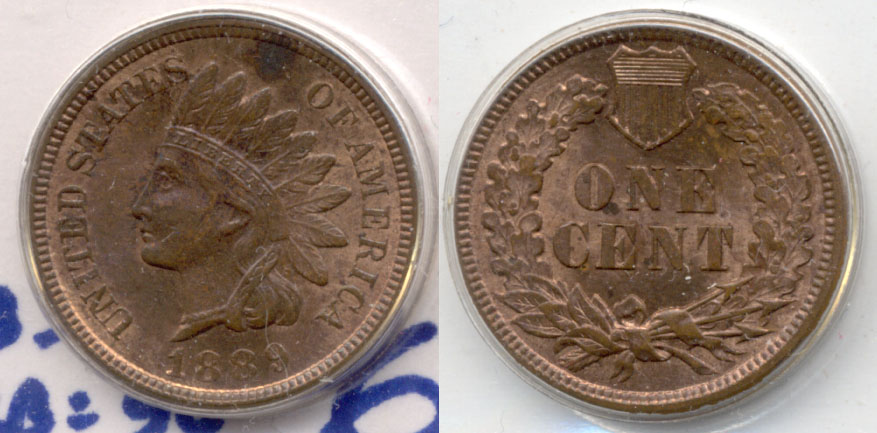 1889 Indian Head Cent MS-63 Red Brown