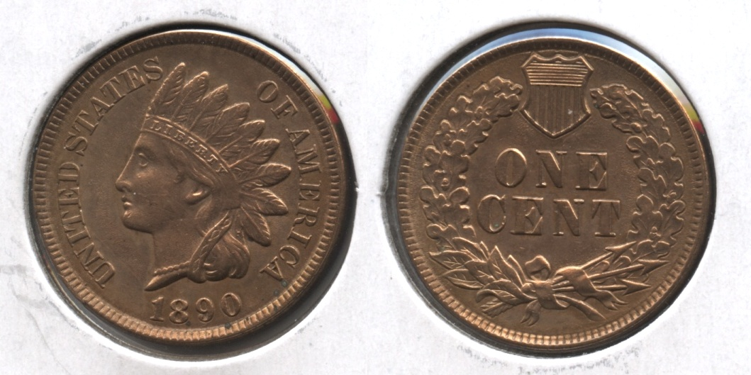 1890 Indian Head Cent MS-60 Cleaned