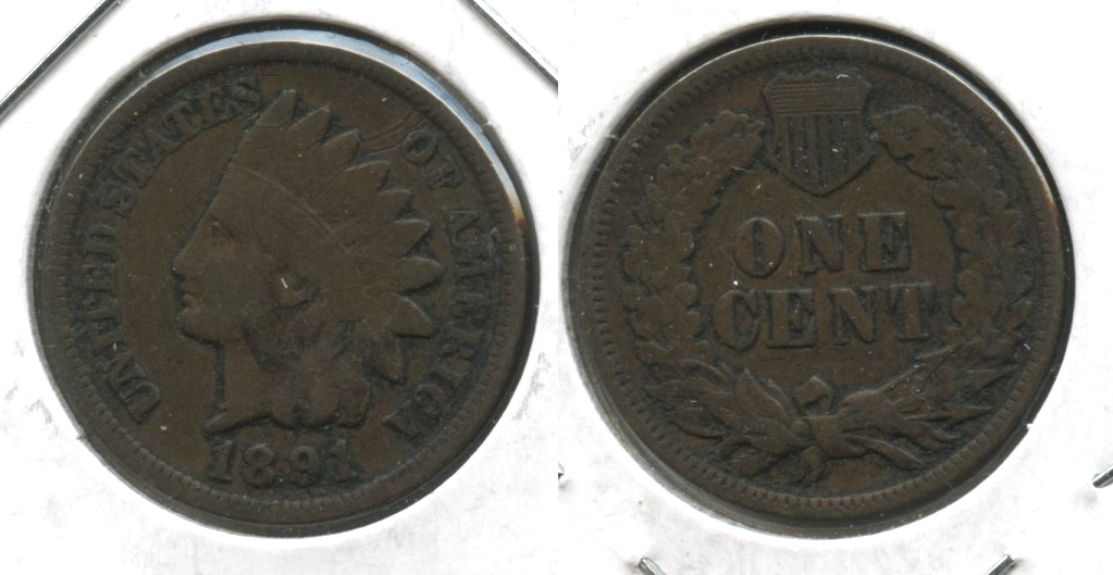 1891 Indian Head Cent Fine-12 #a