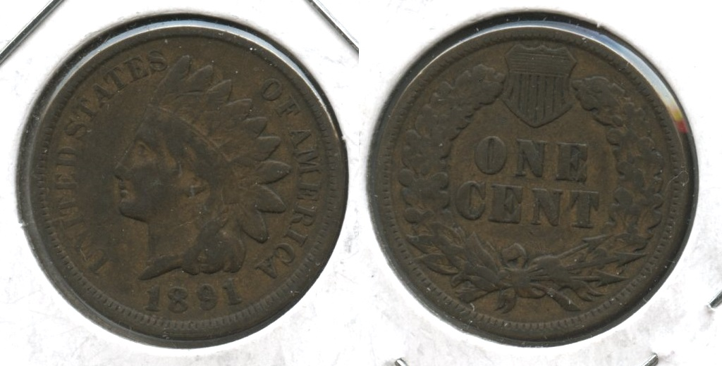 1891 Indian Head Cent Fine-12 #b