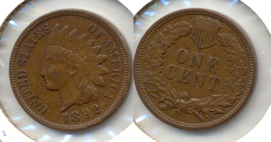 1892 Indian Head Cent AU-50