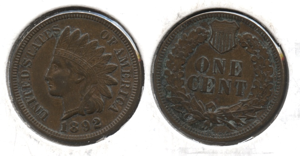 1892 Indian Head Cent AU-50 Cleaned Retoned #c