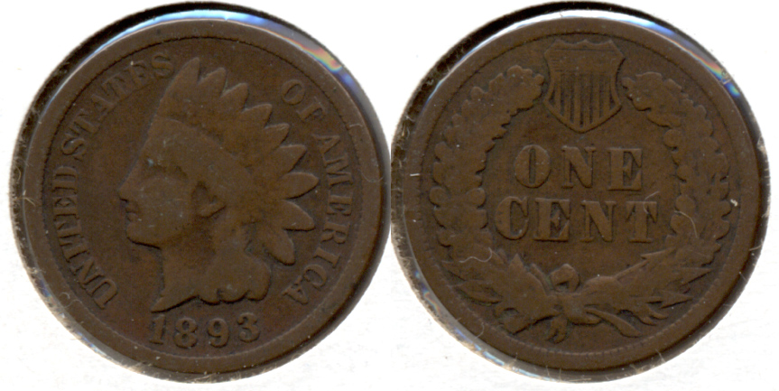 1893 Indian Head Cent Good-4 l