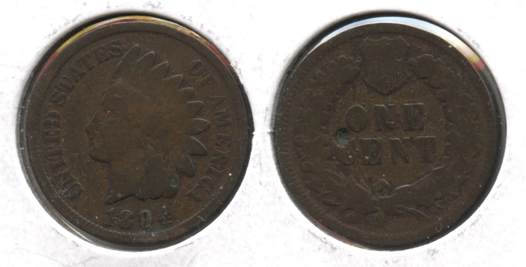 1894 Indian Head Cent Good-4 #bj Reverse Pit
