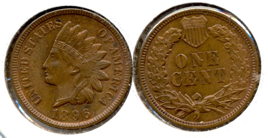 1896 Indian Head Cent MS-60 Brown