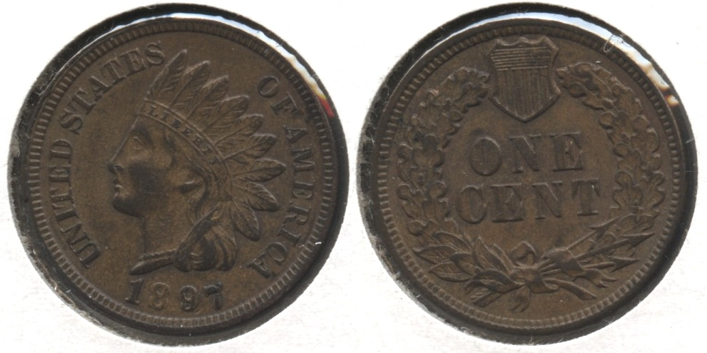 1897 Indian Head Cent AU-50 #c