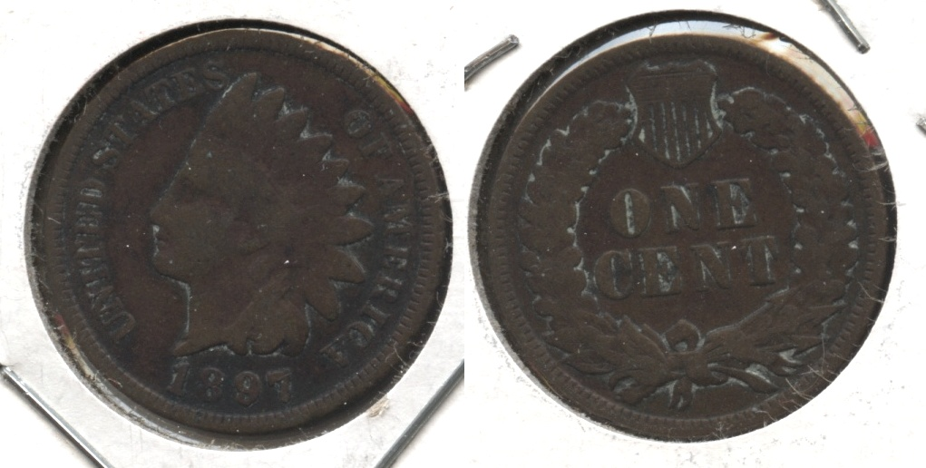 1897 Indian Head Cent Good-4 #j Cleaned Retoned
