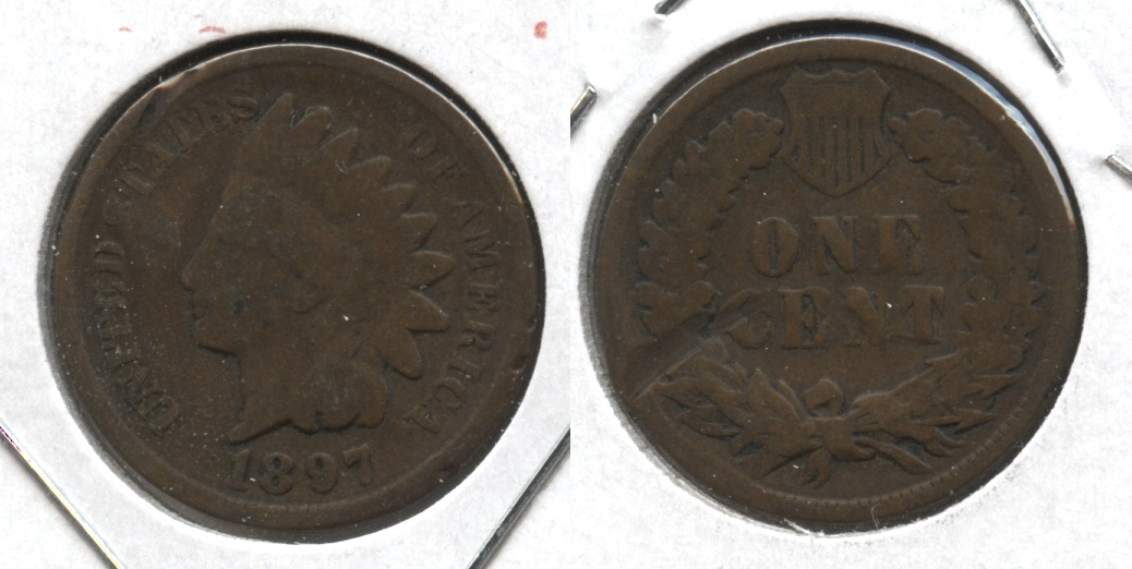 1897 Indian Head Cent Good-4 #m Reverse Damage