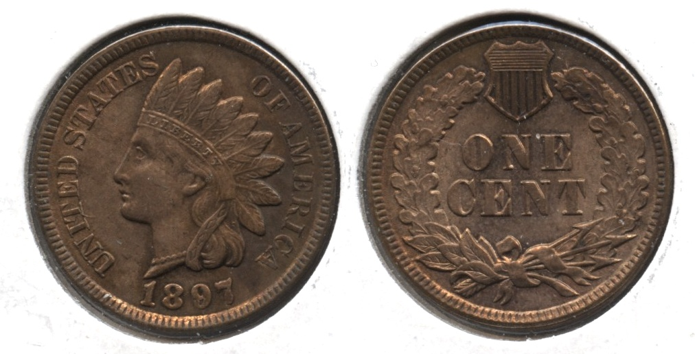 1897 Indian Head Cent MS-64 Red Brown