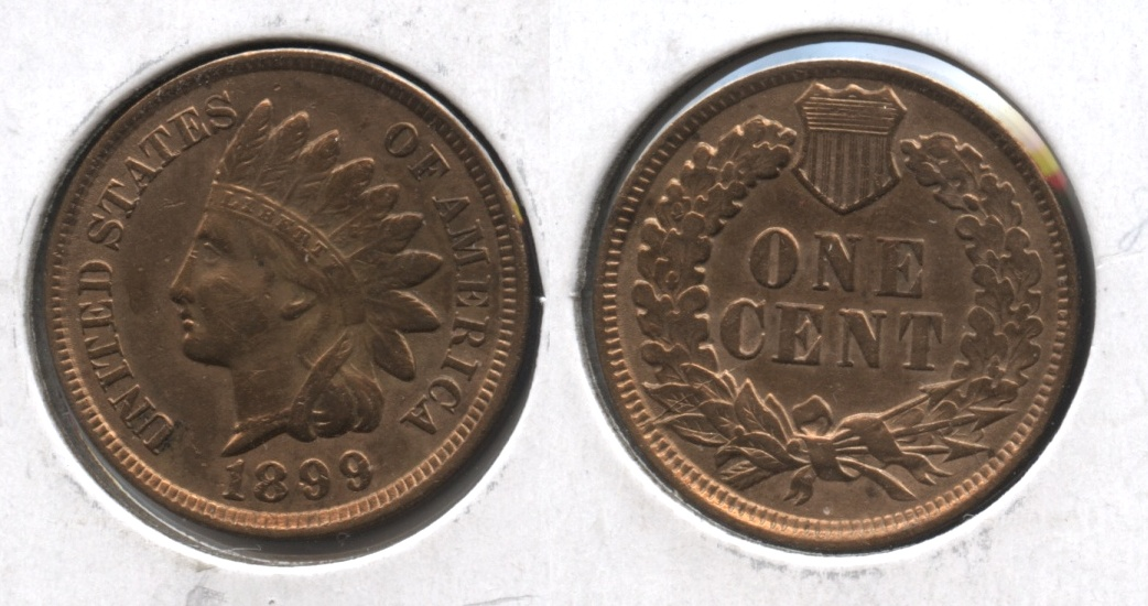 1899 Indian Head Cent AU-50 #e Cleaned