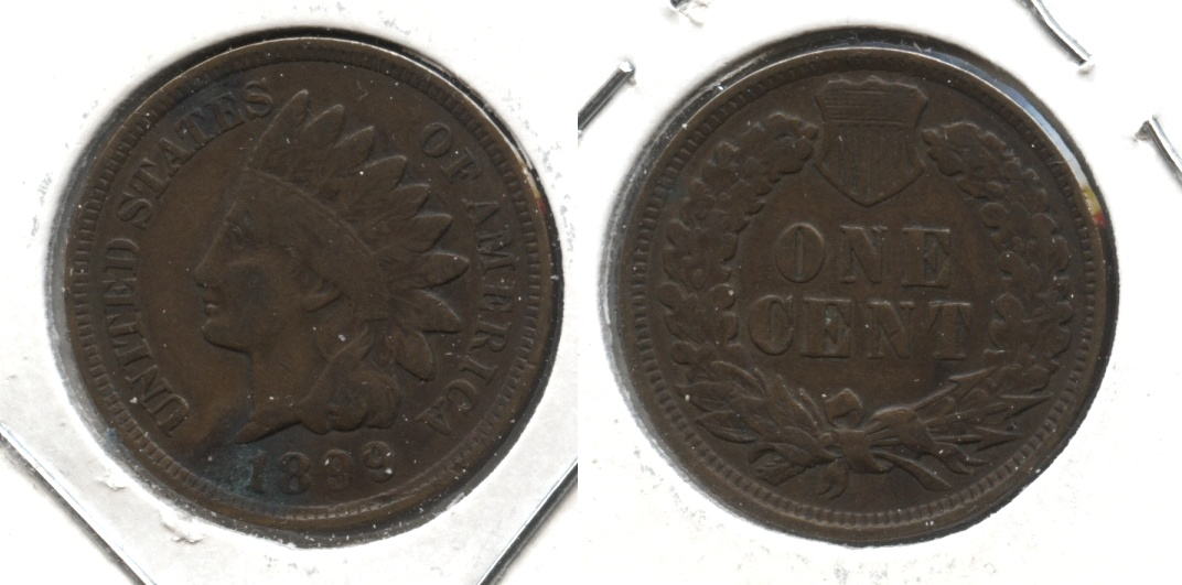 1899 Indian Head Cent Fine-12 #d Green Patch
